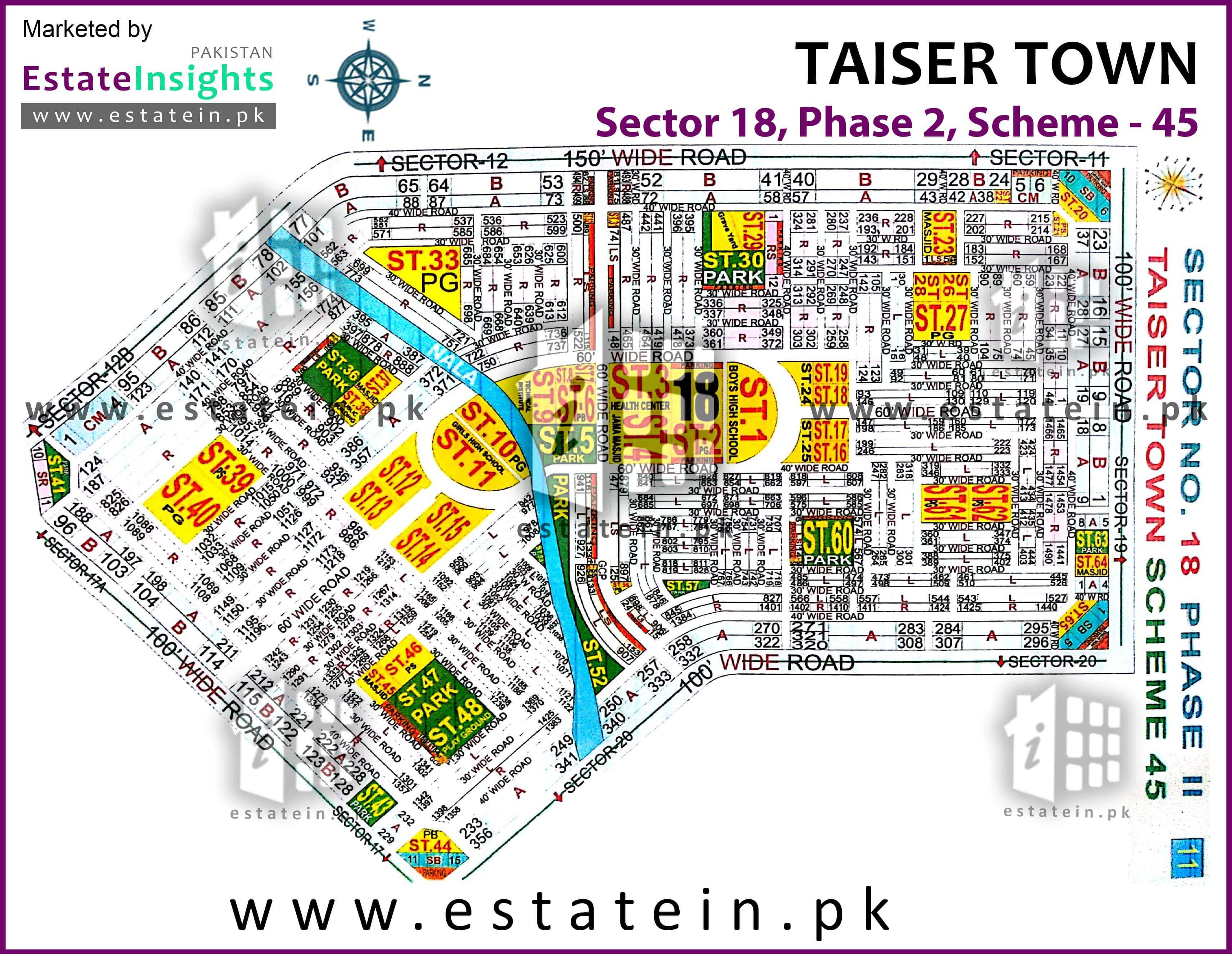 Site Plan of Sector 18 of Taiser Town Phase II