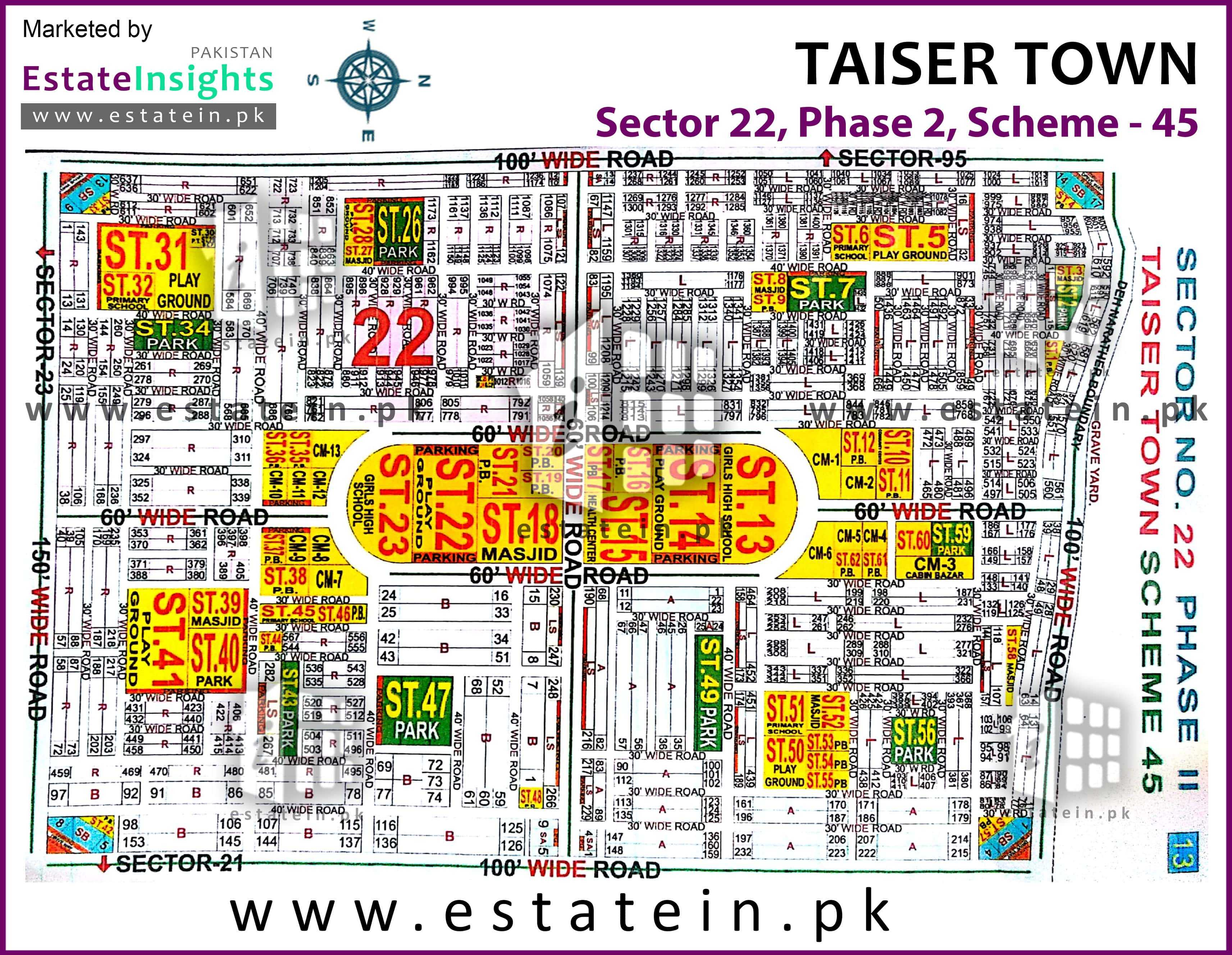 Site Plan of Sector 22 of Taiser Town Phase II