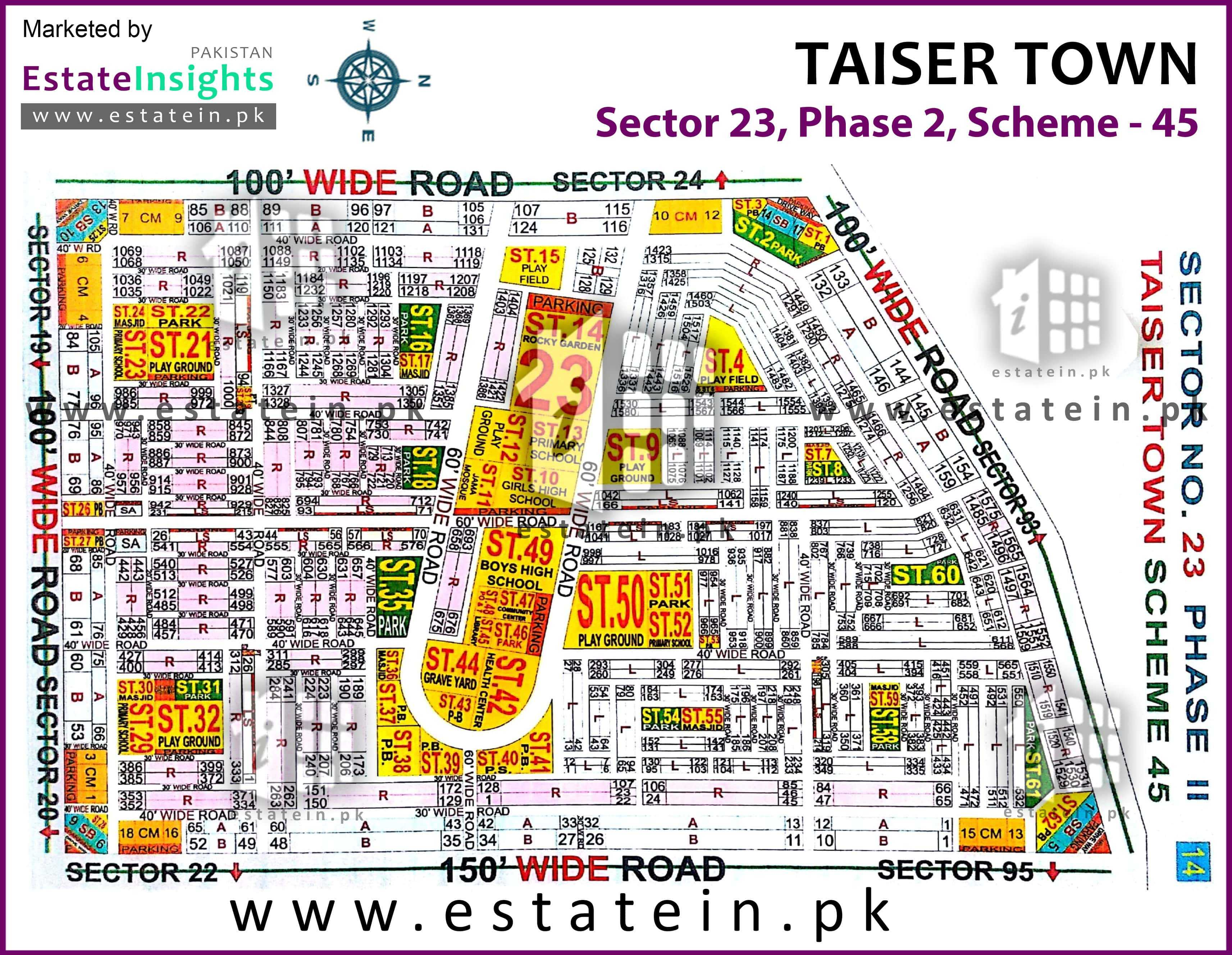 Site Plan of Sector 23 of Taiser Town Phase II