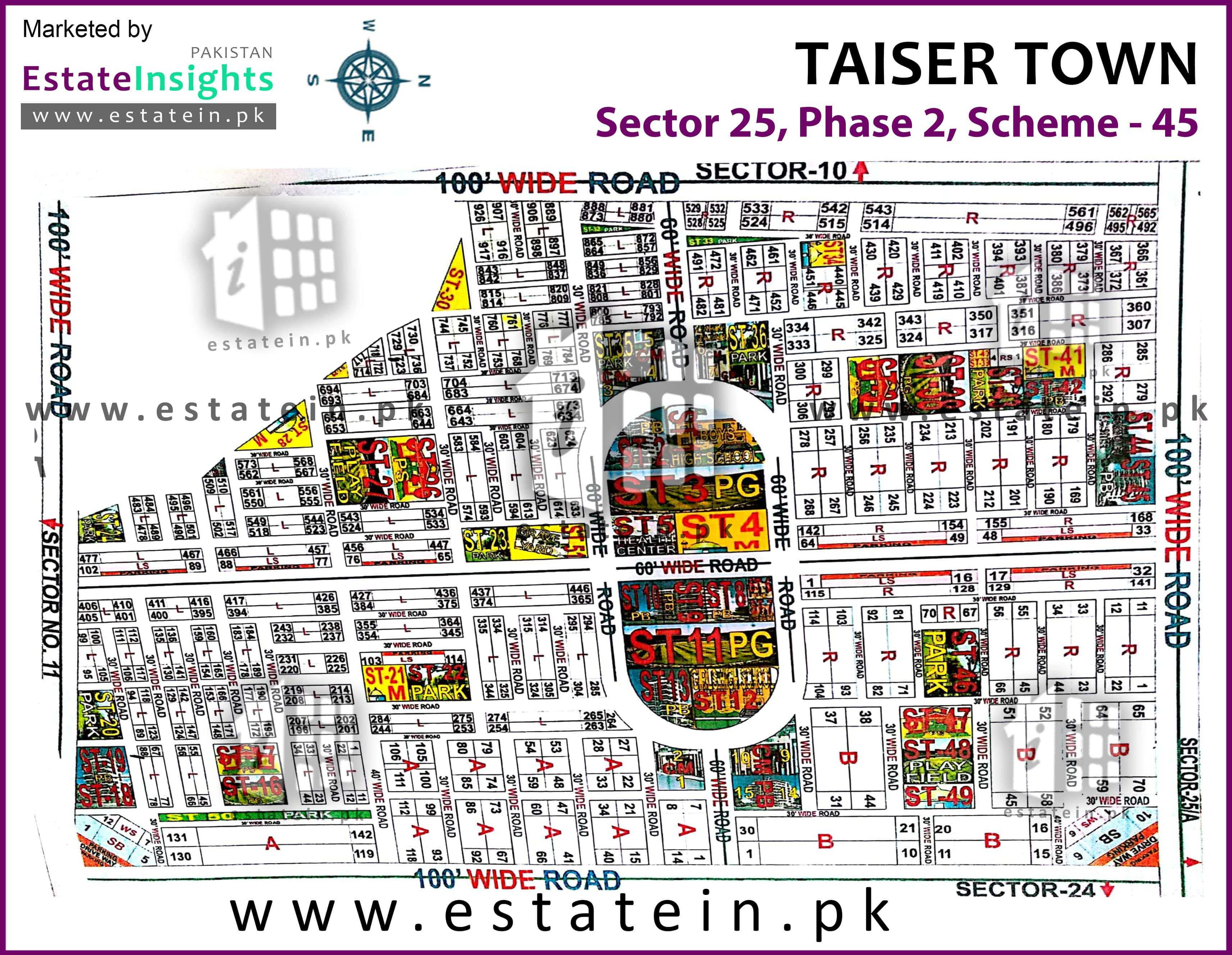 Site Plan of Sector 25 of Taiser Town Phase II