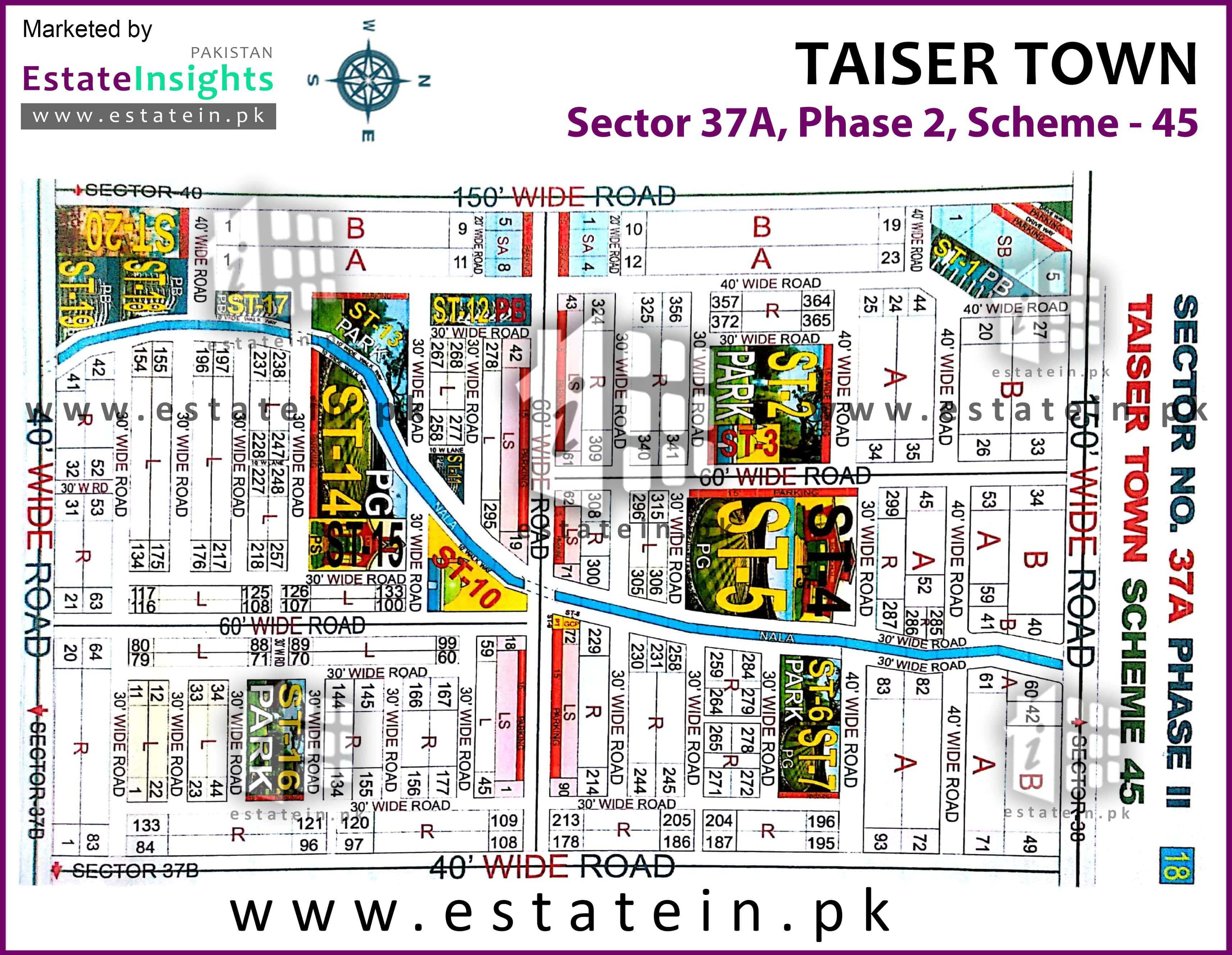Site Plan of Sector 37A of Taiser Town Phase II