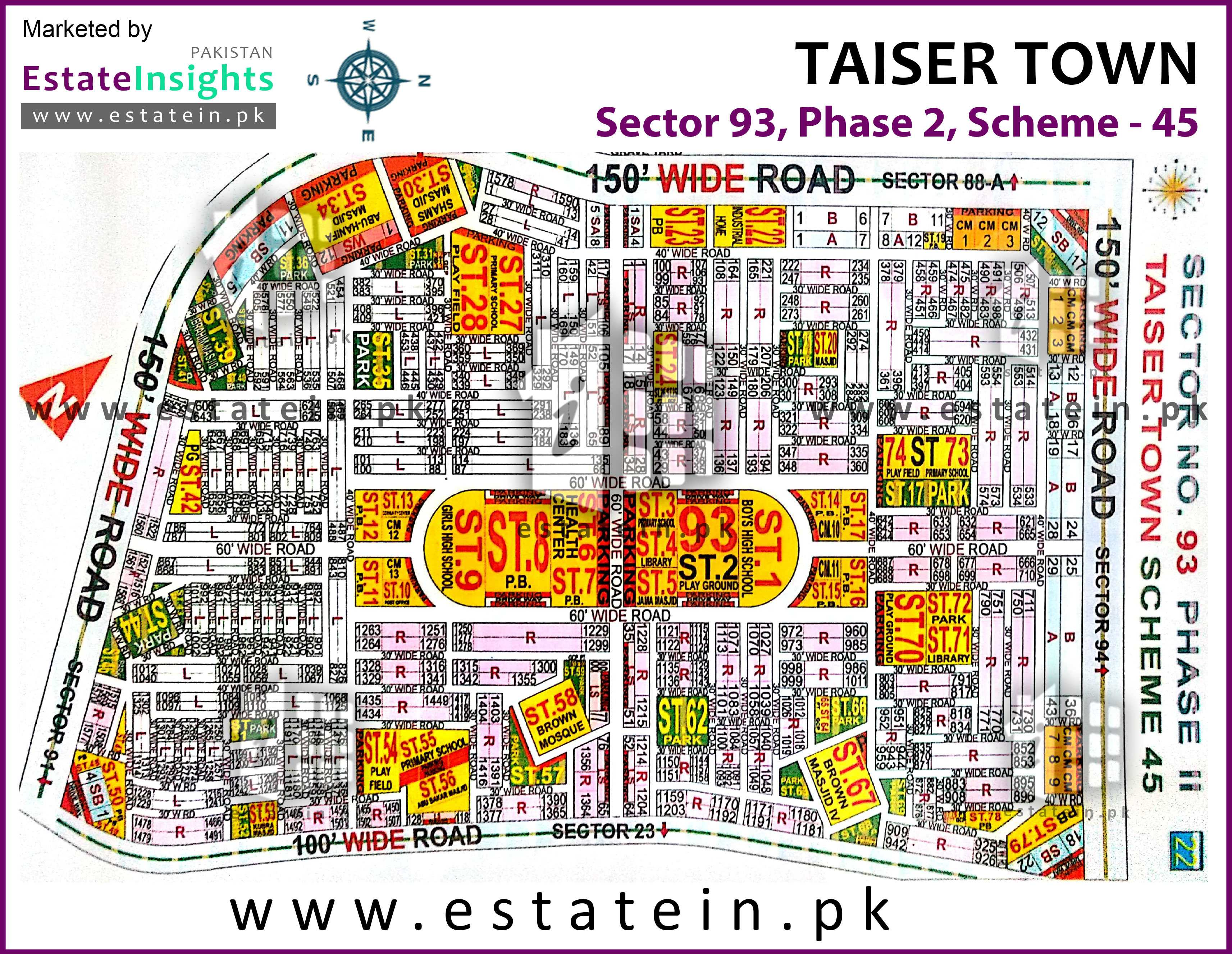 Site Plan of Sector 93 of Taiser Town Phase II