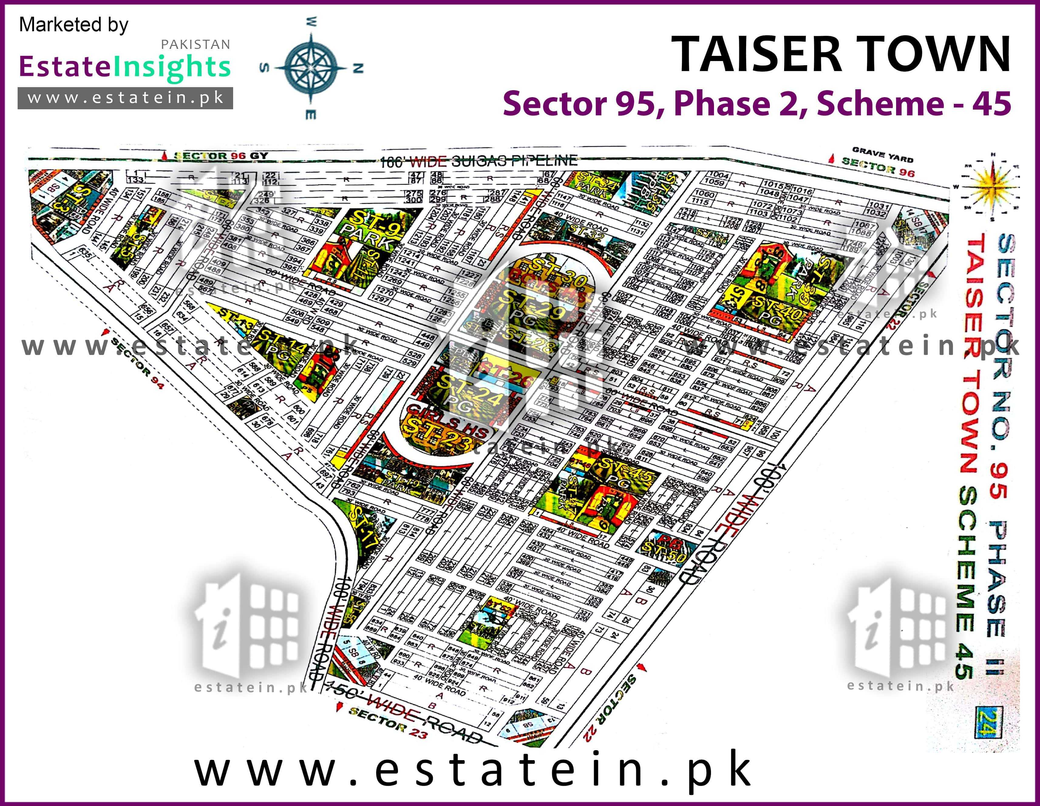 Site Plan of Sector 95 of Taiser Town Phase II