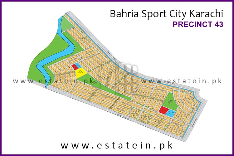 Site Plan of Precinct-43 of Bahria Sports City