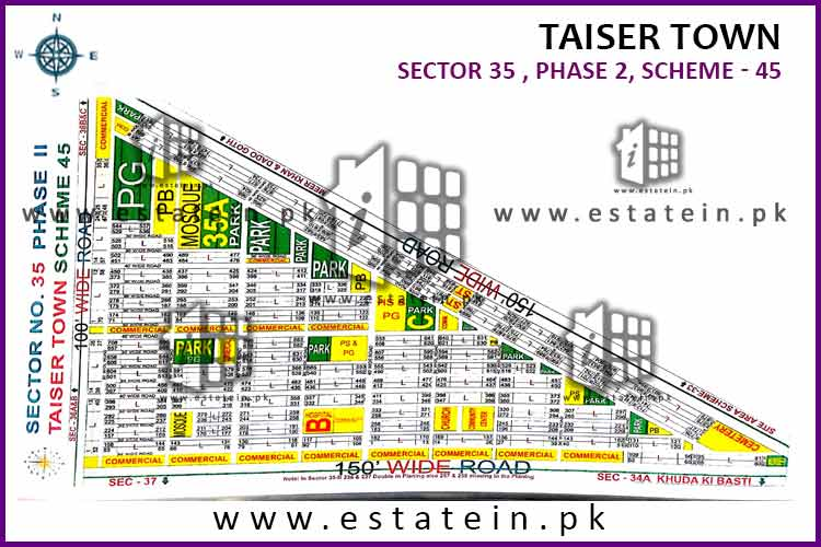 Site Plan of Sector 35 of Taiser Town Phase II