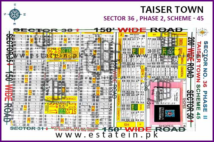 Site Plan of Sector 36 of Taiser Town Phase II