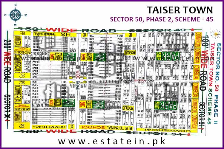 Site Plan of Sector 50 of Taiser Town Phase II