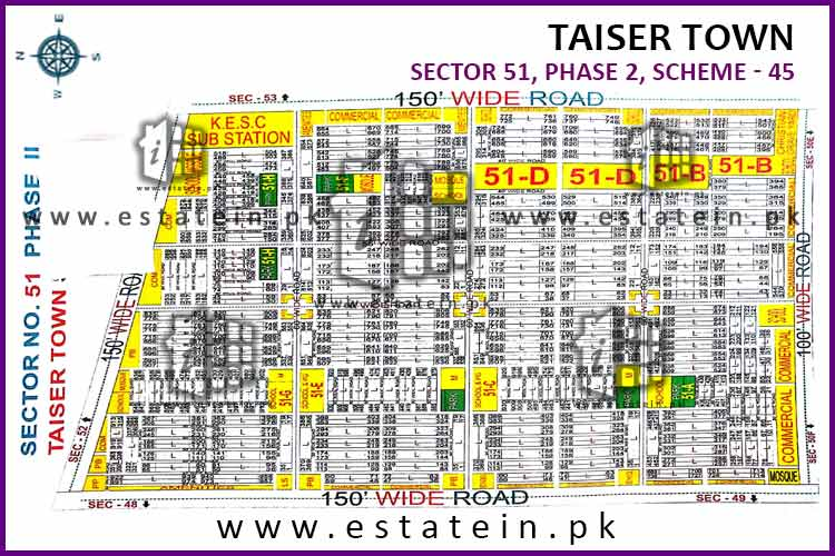 Site Plan of Sector 51 of Taiser Town Phase II