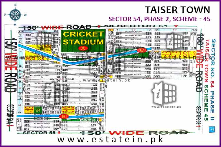 Site Plan of Sector 54 of Taiser Town Phase II