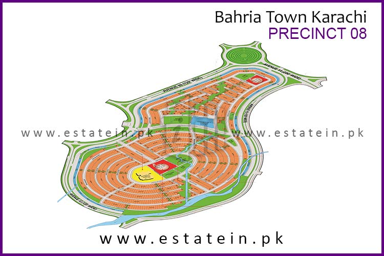 Site Plan of Precinct-8 of Bahria Town Karachi