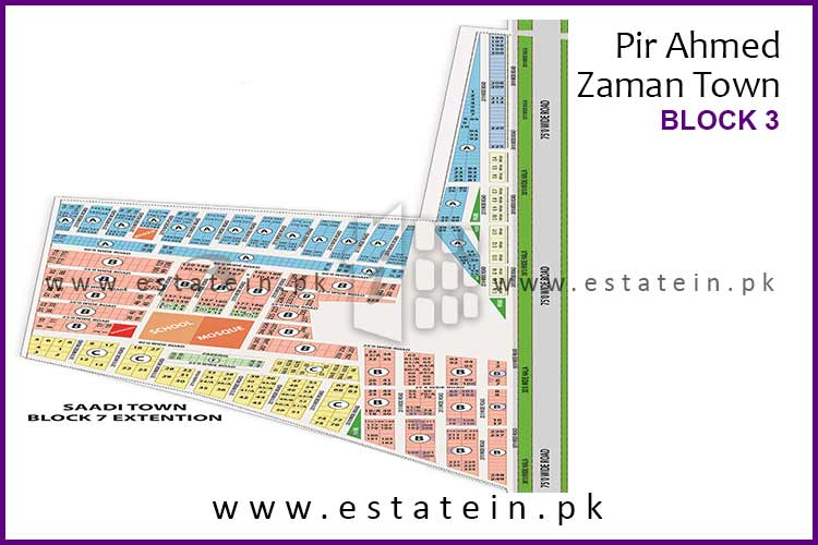 Site Plan of Block 3 of Pir Ahmed Zaman Town