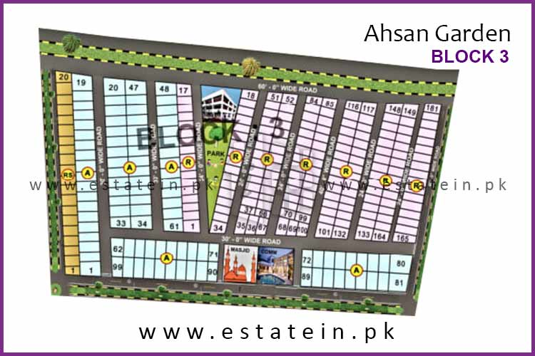Site Plan of Block 3 of Ahsan Garden and Ahsan Grand City