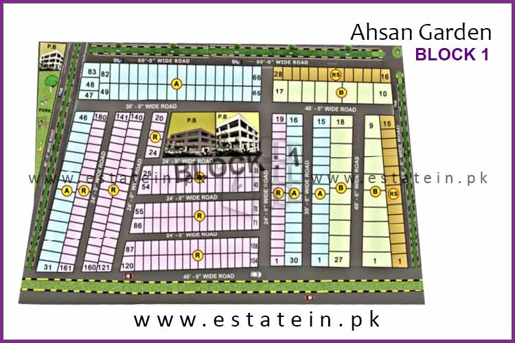 Site Plan of Block 1 of Ahsan Garden and Ahsan Grand City
