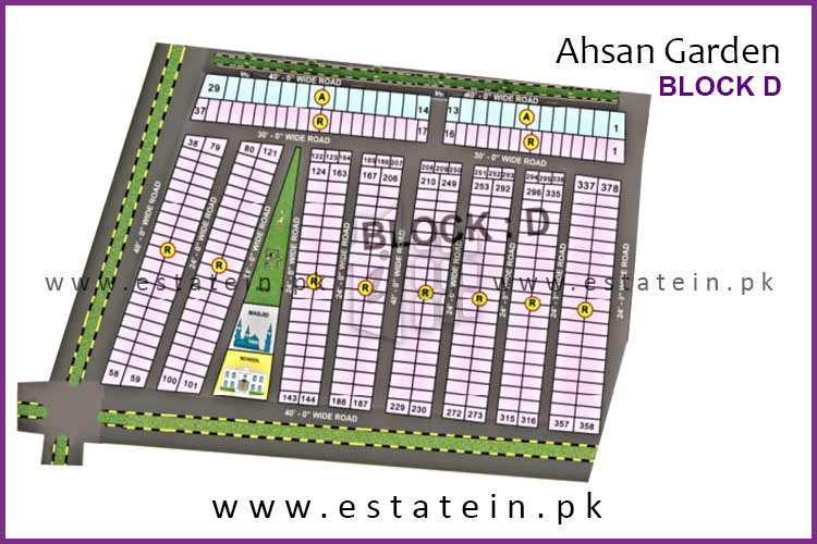 Site Plan of Block D of Ahsan Garden and Ahsan Grand City