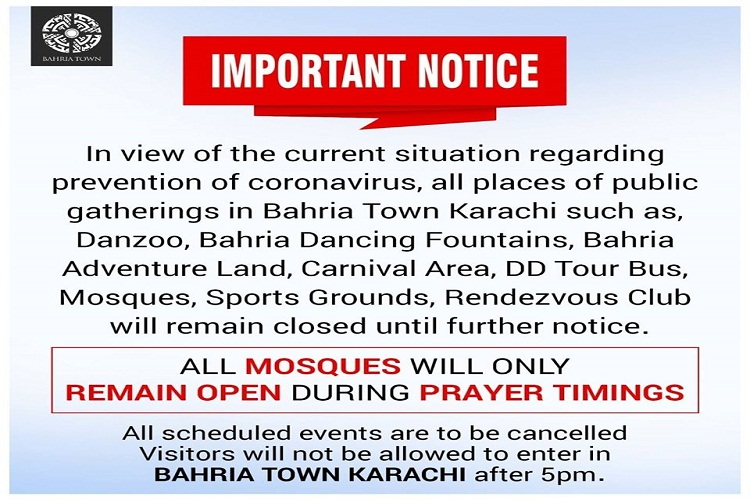 Public Gatherings in Bahria Town Karachi remain closed till further orders-