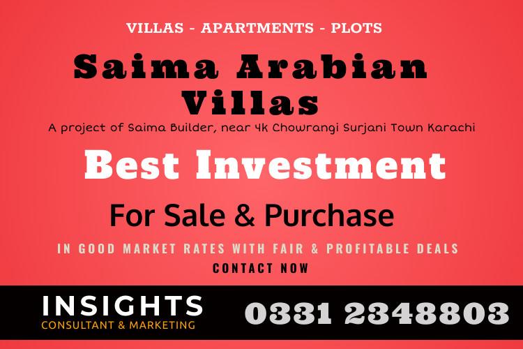 Villa, Apartment and Plot for Sale in Saima Arabian Villas