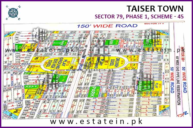 Full paid 80 Sqy Plot for Sale in Sector 79/4 Phase 1 Taiser Town Karachi