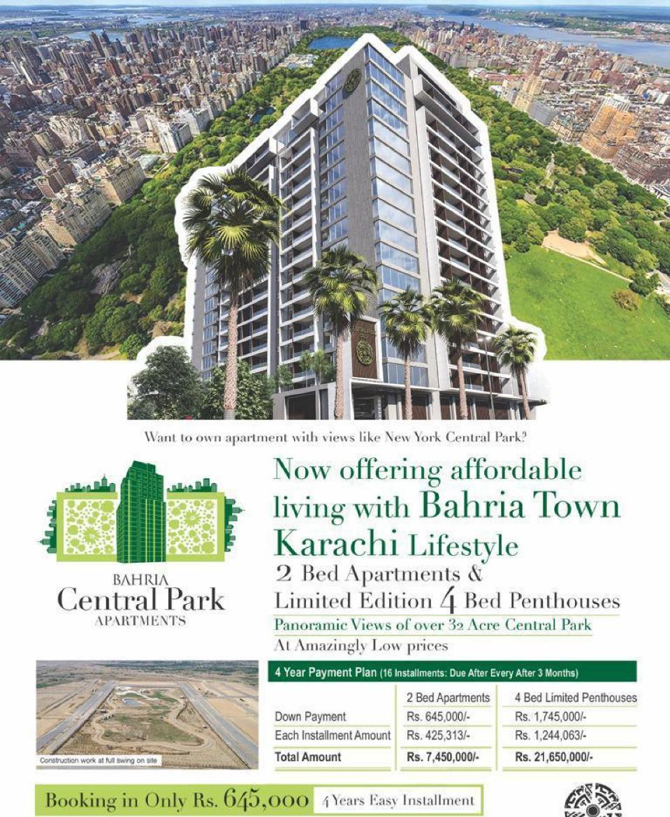 Modern and Luxurious BAHRIA CENTRAL PARK APARTMENT available for sale in easy installments