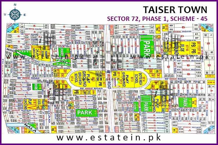 120 yards plot for sale in Sector 72 Taiser Town Karachi