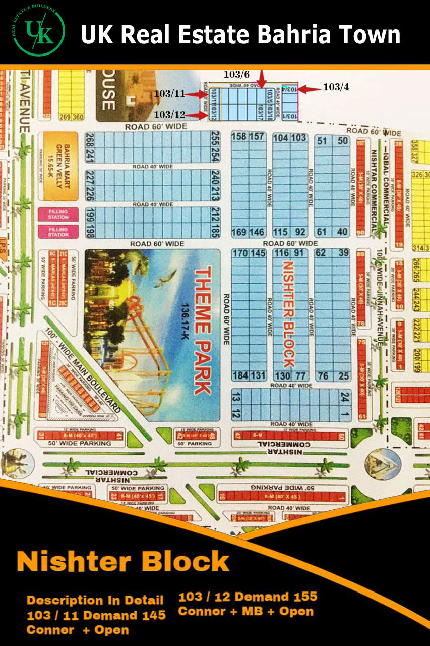 1 Kanal Plot for  sale in nishter block  Bahria town Lahore