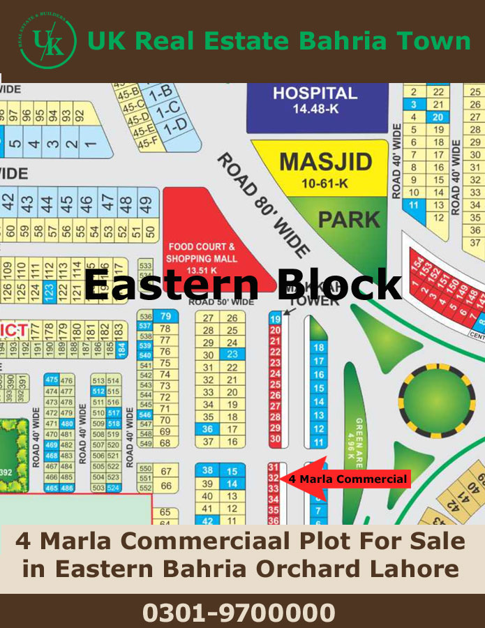4 Marla  Plot for  sale in 32 Eastern  Bahria Orchard Lahore